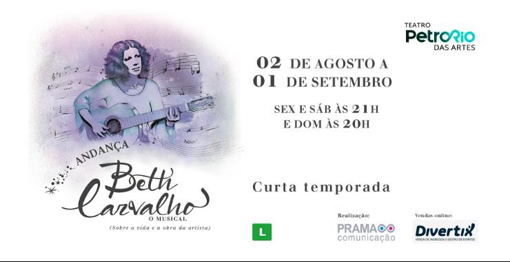 Banner da peça ANDANÇA – Beth Carvalho, o musical