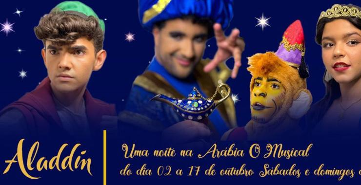 Banner da peça Aladdin - Uma Noite na Arábia