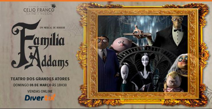 Banner da peça Família Addams - um musical de horror