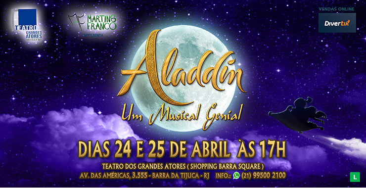 Banner da peça Aladdin - Um Musical Genial