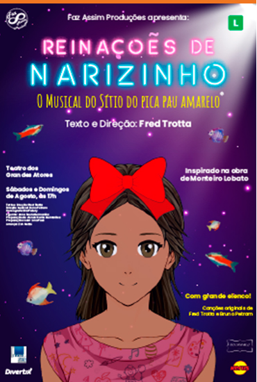 Capa da peça Reinações de Narizinho - o musical do Sítio